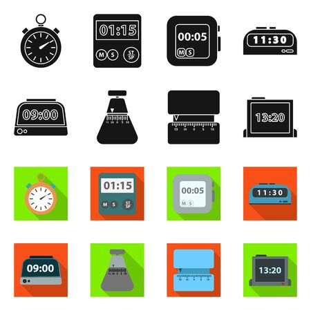 Vector illustration of clock and equipment logo. clock and count vector icon for stock. Ilustracja