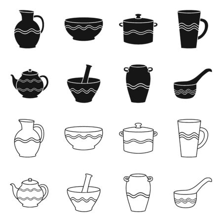 Vector design of pottery and ware icon. Collection of pottery and clayware stock vector illustration. 写真素材 - 131219782