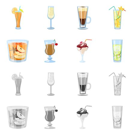 Vector design of liquor and restaurant sign. Set of liquor and ingredient stock vector illustration.
