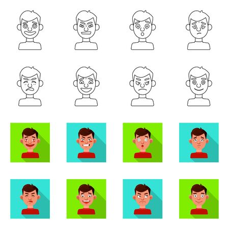 Vector design of face and boy logo. Set of face and human vector icon for stock. Illustration