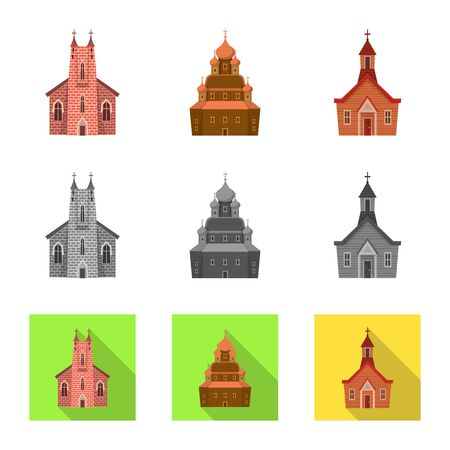 Vector illustration of cult and temple symbol. Set of cult and parish vector icon for stock.