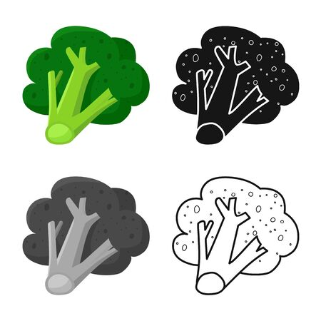 Isolated object of broccoli and product symbol. Set of broccoli and crop stock vector illustration. Çizim