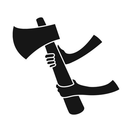 Vector illustration of ax and fireman symbol. Collection of ax and safety stock symbol for web. Stock Illustratie