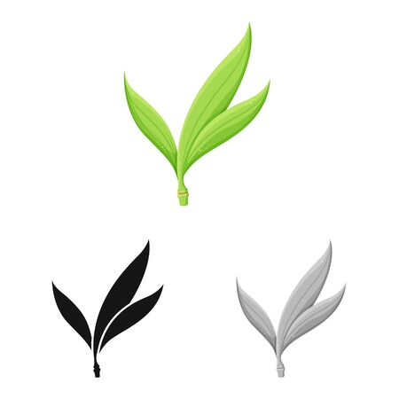 Vector design of leaf and sugar logo. Web element of leaf and green vector icon for stock. Stock Illustratie