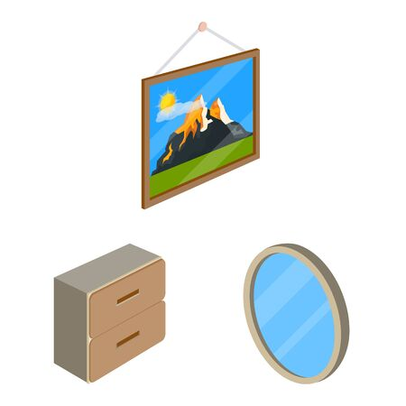 Vector design of bedroom and room symbol. Collection of bedroom and furniture stock symbol for web.