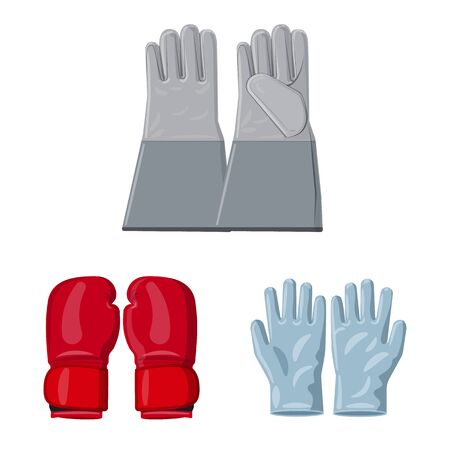 Vector design of glove and winter logo. Collection of glove and equipment stock symbol for web.