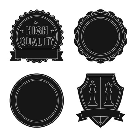 Vector illustration of emblem and badge icon. Collection of emblem and sticker stock vector illustration.