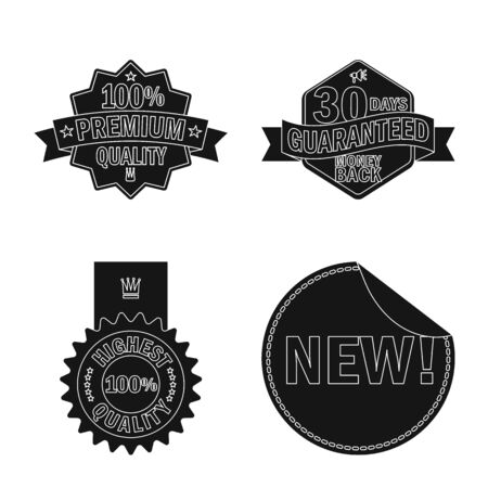 Vector illustration of emblem and badge icon. Set of emblem and sticker stock symbol for web.