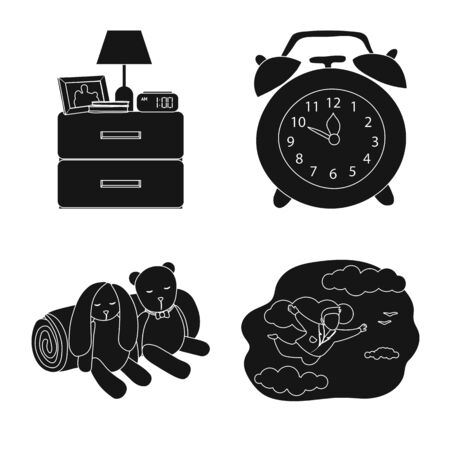 Vector design of dreams and night logo. Set of dreams and bedroom vector icon for stock. Ilustrace