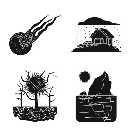 Isolated object of natural and disaster icon. Set of natural and risk vector icon for stock.