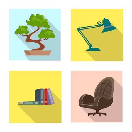 Vector design of furniture and work icon. Set of furniture and home vector icon for stock. Stockfoto - 131484042