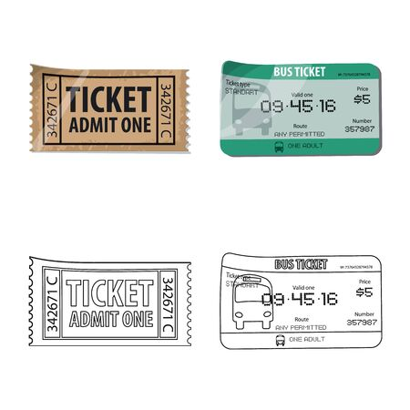 Vector illustration of ticket and admission logo. Collection of ticket and event stock symbol for web. Иллюстрация