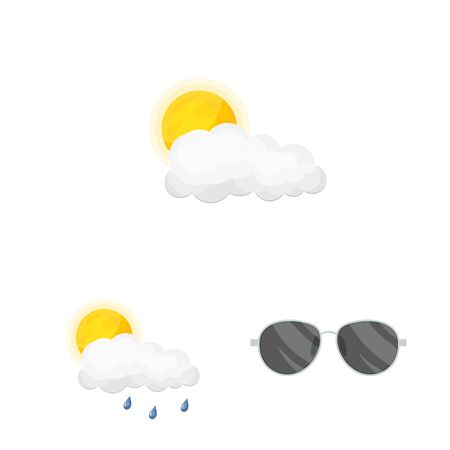 Vector design of weather and climate sign. Set of weather and cloud stock symbol for web.