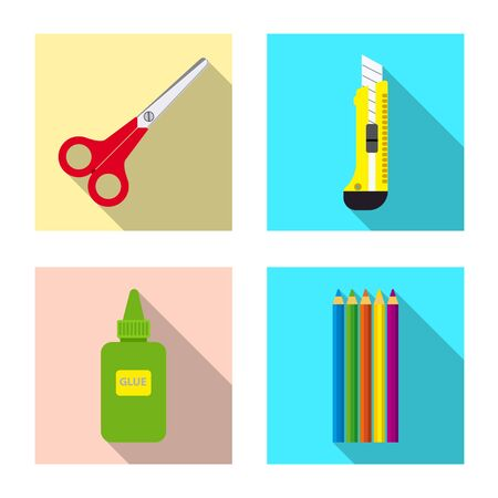 Vector design of office and supply icon. Set of office and school stock vector illustration.  イラスト・ベクター素材