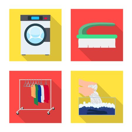 Vector design of laundry and clean symbol. Collection of laundry and clothes stock symbol for web.  イラスト・ベクター素材