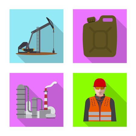 Vector illustration of oil and gas logo. Set of oil and petrol vector icon for stock.  イラスト・ベクター素材