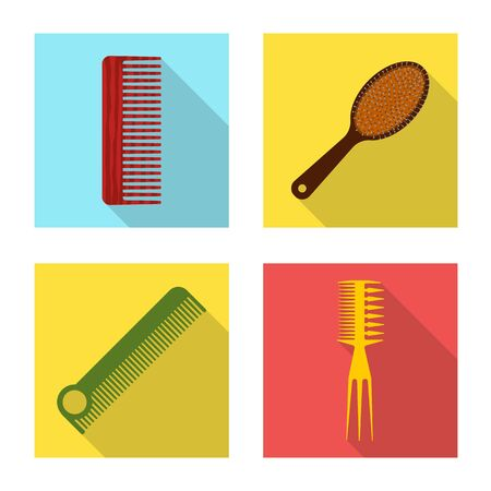 Isolated object of brush and hair sign. Collection of brush and hairbrush vector icon for stock.