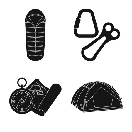 Isolated object of mountaineering and peak icon. Set of mountaineering and camp stock symbol for web.