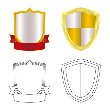Isolated object of emblem and badge logo. Collection of emblem and sticker stock vector illustration. Иллюстрация
