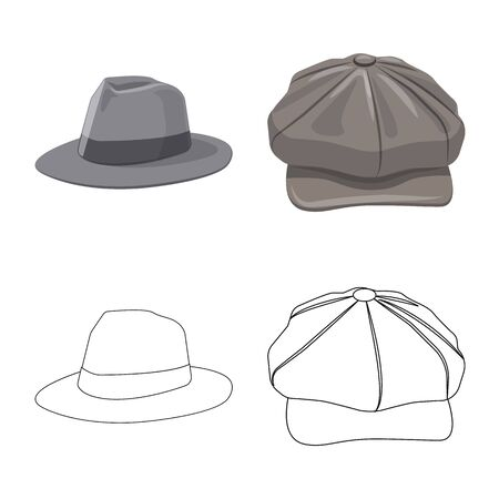 Isolated object of headgear and cap logo. Set of headgear and accessory stock symbol for web.  イラスト・ベクター素材