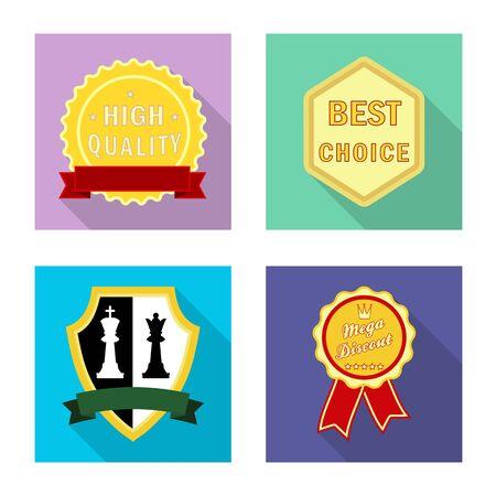 Vector design of emblem and badge logo. Set of emblem and sticker stock symbol for web. Illusztráció