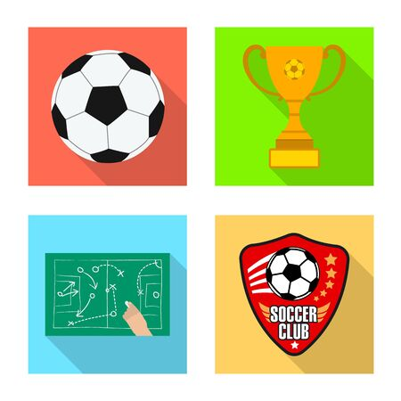 Vector design of soccer and gear sign. Collection of soccer and tournament stock symbol for web. Иллюстрация