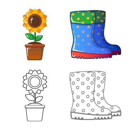 Vector design of farm and agriculture symbol. Set of farm and plant vector icon for stock.  イラスト・ベクター素材