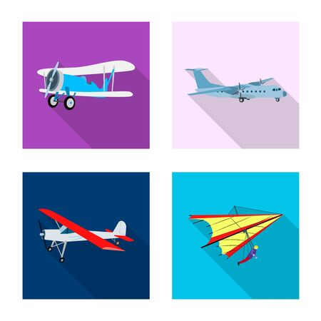 Isolated object of plane and transport icon. Collection of plane and sky stock symbol for web. 일러스트