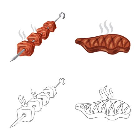 Vector illustration of meat and ham icon. Set of meat and cooking stock symbol for web.