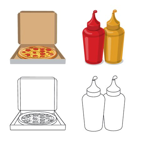 Isolated object of pizza and food logo. Set of pizza and italy vector icon for stock.