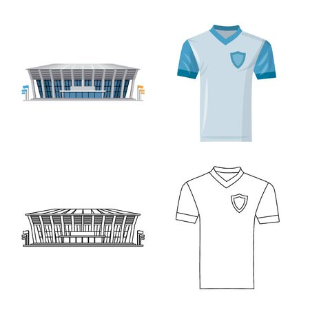 Vector design of soccer and gear logo. Set of soccer and tournament stock symbol for web. Stock Illustratie
