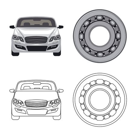 Vector illustration of auto and part sign. Set of auto and car vector icon for stock. Illustration