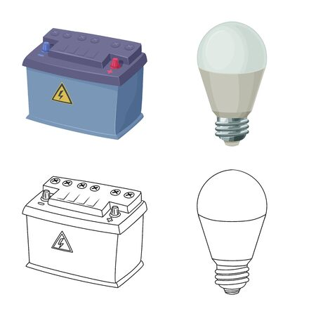 Isolated object of electricity and electric sign. Collection of electricity and energy vector icon for stock. Stock Illustratie