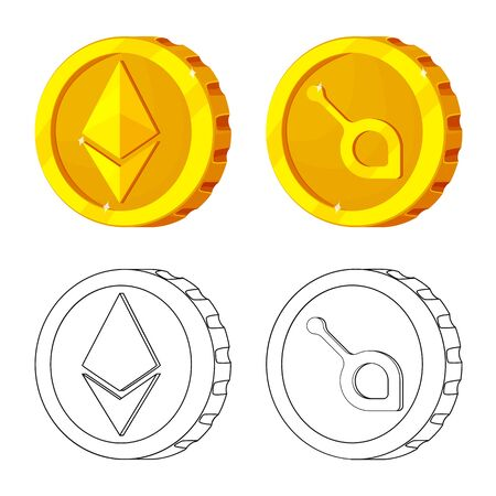Isolated object of cryptocurrency and coin symbol. Set of cryptocurrency and crypto stock symbol for web. Иллюстрация