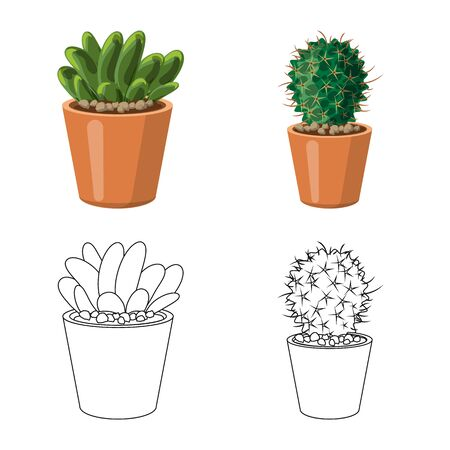 Isolated object of cactus and pot symbol. Set of cactus and cacti vector icon for stock.  イラスト・ベクター素材