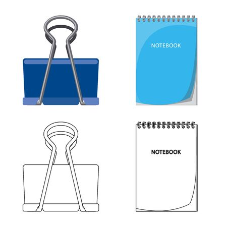 Vector illustration of office and supply icon. Collection of office and school vector icon for stock.  イラスト・ベクター素材