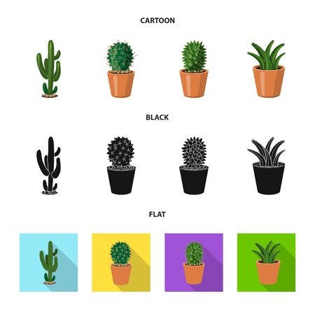 Isolated object of cactus and pot sign. Set of cactus and cacti stock symbol for web.  イラスト・ベクター素材