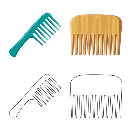 Vector design of brush and hair logo. Collection of brush and hairbrush vector icon for stock.