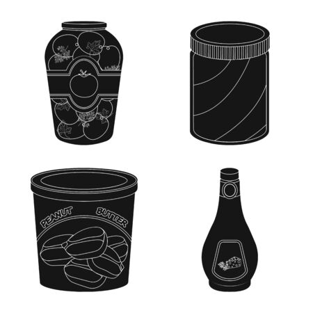 Vector design of can and food logo. Collection of can and package stock symbol for web. Çizim