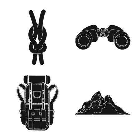 Isolated object of mountaineering and peak logo. Set of mountaineering and camp vector icon for stock. Иллюстрация