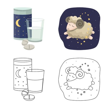Isolated object of dreams and night icon. Set of dreams and bedroom vector icon for stock.