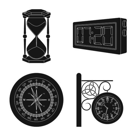 Vector design of clock and time sign. Collection of clock and circle vector icon for stock. 일러스트