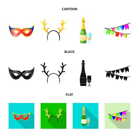 Vector illustration of party and birthday logo. Set of party and celebration vector icon for stock. 일러스트