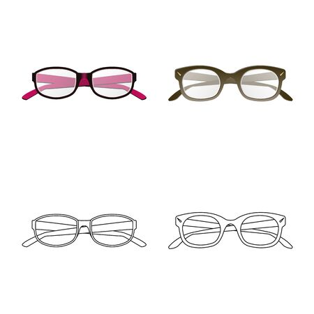 Vector design of glasses and frame symbol. Collection of glasses and accessory vector icon for stock.