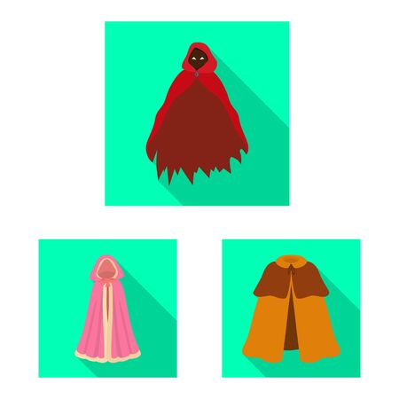 Isolated object of material and clothing icon. Collection of material and garment vector icon for stock.