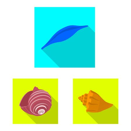 Isolated object of animal and decoration sign. Set of animal and ocean vector icon for stock. Ilustração