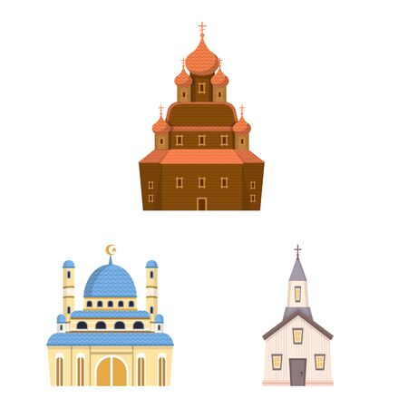 Isolated object of religion and building sign. Set of religion and faith vector icon for stock. Çizim