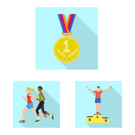 Vector design of sport and winner icon. Collection of sport and fitness vector icon for stock. 版權商用圖片 - 131485349