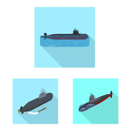 Vector design of military and nuclear sign. Collection of military and ship stock symbol for web.