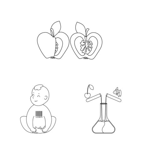 Isolated object of genetic and science sign. Collection of genetic and organic vector icon for stock.